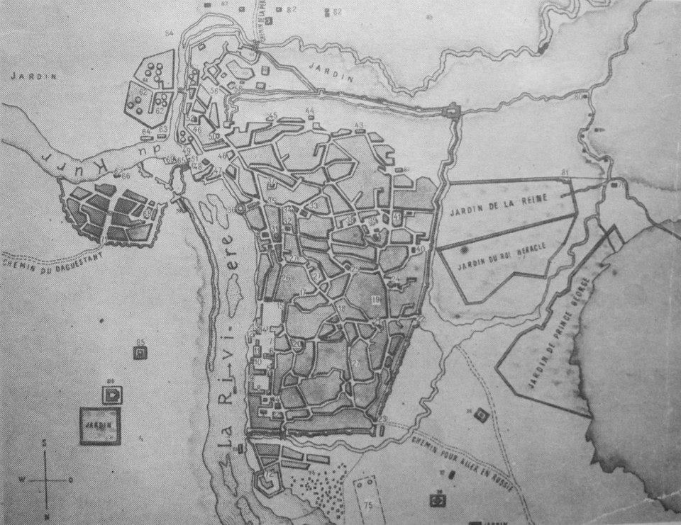 Map of Tiflis drawn by the Russian officer Alexander Stepanovich Pishchevich in 1785