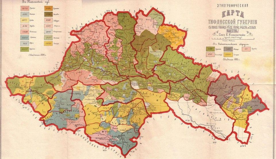Ethnographic map of the Tiflis Governorate dated 1902