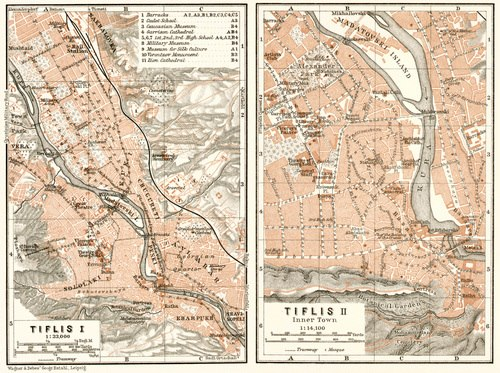 Map of Tiflis by Wagner & Debes dated 1914